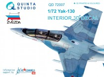 Quinta Studio QD72007  Yak-130  3D-Printed & coloured Interior on decal paper  (for Zvezda kit)