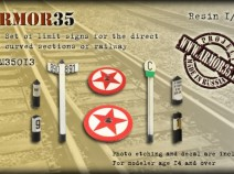 Armor35 ARM35013 The Set of limit signs for the direct and curved sections of railway 1/35