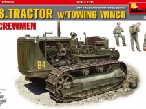 MiniArt 35225 U.S. Tractor Caterpillar D7 w/ winch. Американский трактор с лебедкой и экипажем.
