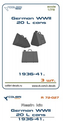 Colibri Decals R 72-027 German WWII 20l cans 1936-41