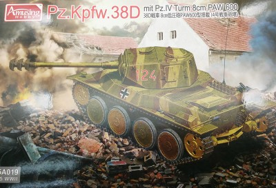 Amusing Hobby 35A019 PzKpfw 38D with Pz IV turret 8 cm PAW 600