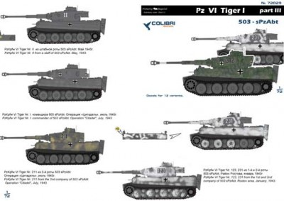 Colibri Decals 72029 Pz VI Tiger I - Part III 503- sPzAbt